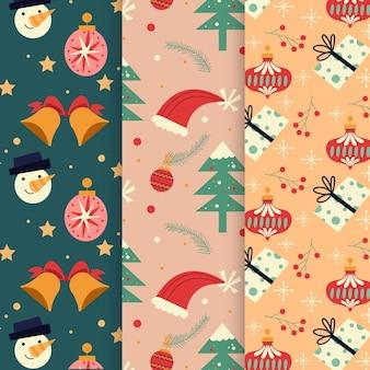 Плоский дизайн рождественской коллекции шаблонов