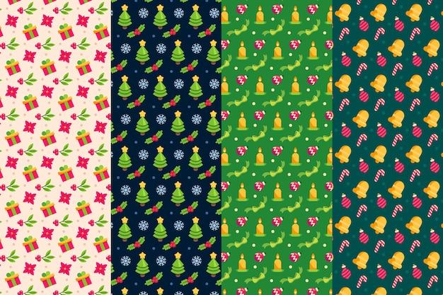 Collezione di pattern natalizi design piatto