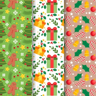 Flat design christmas pattern collection