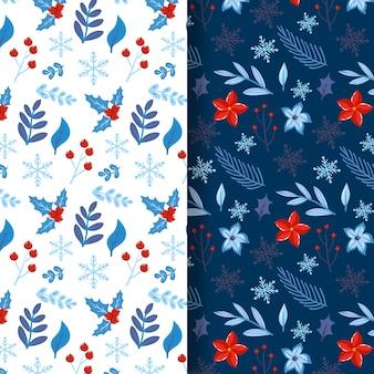 Flat design christmas pattern pack