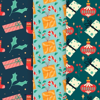 Flat design christmas pattern pack