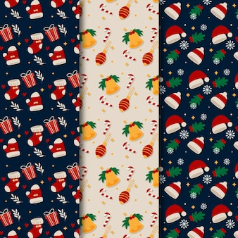 Flat design christmas pattern set