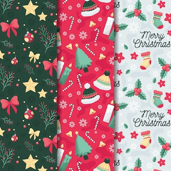 Flat design christmas pattern set