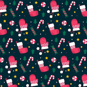 Flat design christmas pattern