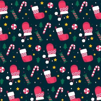 Плоский дизайн рождественский образец