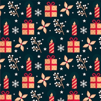 フラットデザインのクリスマスパターン