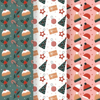 Flat design christmas patterns set