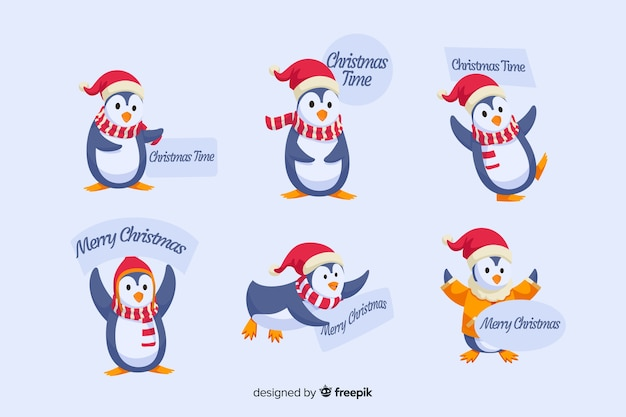 Flat design of christmas penguin label collection