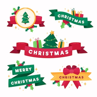 Flat design christmas ribbon collection
