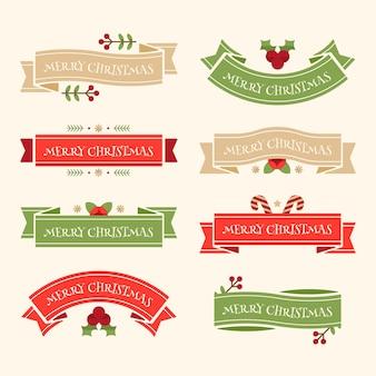 フラットなデザインのクリスマスリボンコレクション