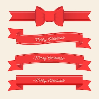 Flat design christmas ribbon collection