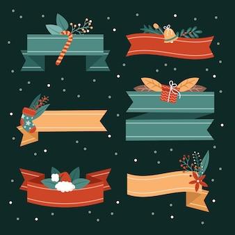 Collezione di nastri natalizi design piatto