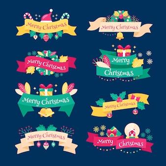 Рождественская коллекция лент в плоском дизайне