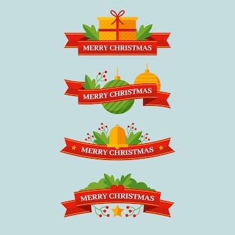 フラットデザインのクリスマスリボンコレクション