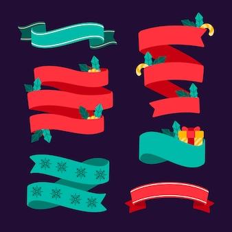 フラットなデザインのクリスマスリボンセット