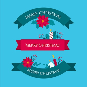 Flat design christmas ribbon set