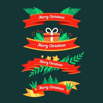 Flat design christmas ribbons