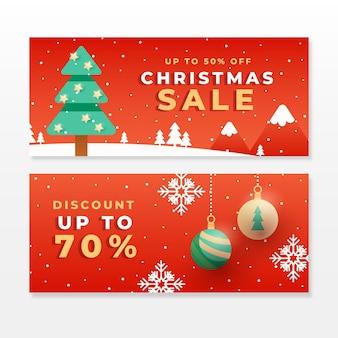 Flat design christmas sale banner template