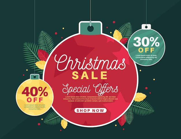 Flat design christmas sale banner with globes