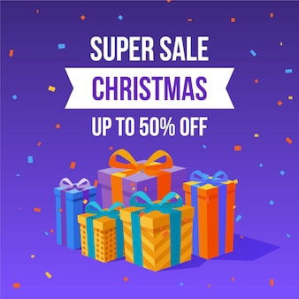 Flat design christmas sale banner