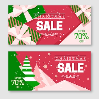 Flat design christmas sale banners collection