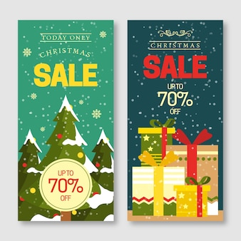 Flat design christmas sale banners pack