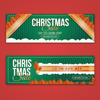 Flat design christmas sale banners template