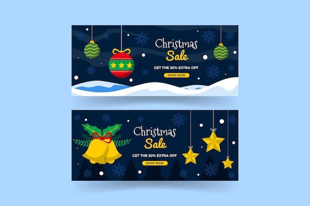 フラットデザインのクリスマスセールバナーテンプレート