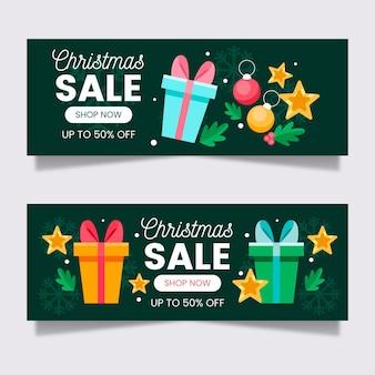 Modello di banner di vendita di natale design piatto