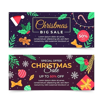 평면 디자인 크리스마스 판매 배너 서식 파일