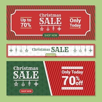 Flat design christmas sale banners