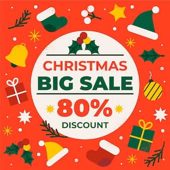 Flat design christmas sale concept