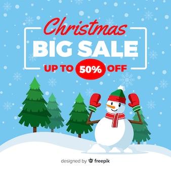 Flat design christmas sale concept