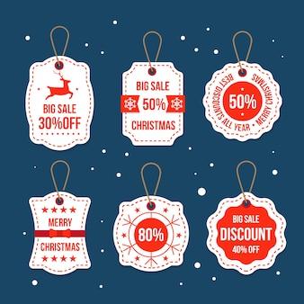 Flat design christmas sale tag collection