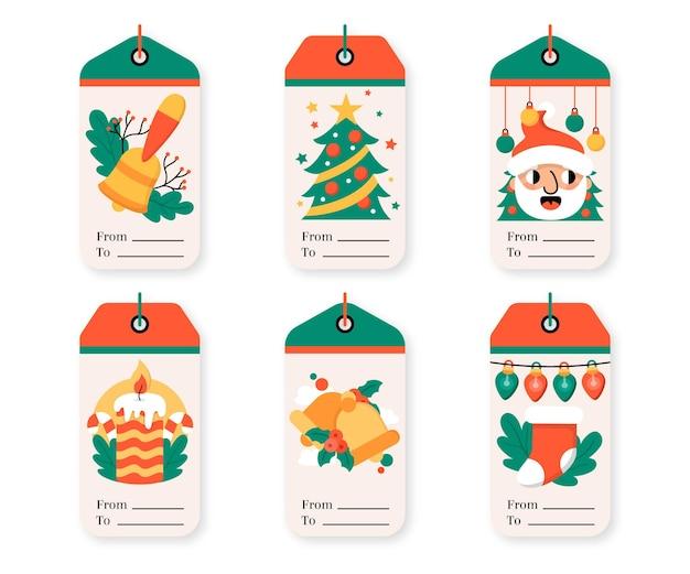 Collezione di tag di vendita di natale design piatto