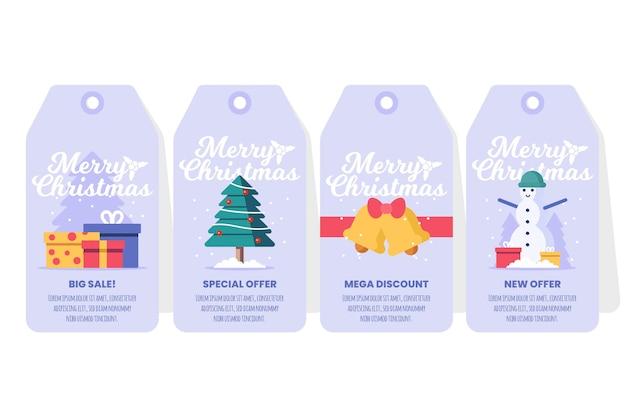 フラットデザインのクリスマスセールタグコレクション