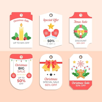평면 디자인 크리스마스 판매 태그 컬렉션