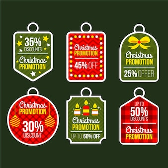 Flat design christmas sale tag illustration set