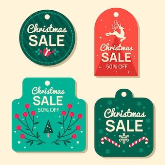 Pacchetto di tag di vendita di natale design piatto