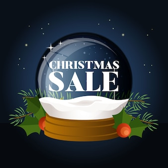 Flat design christmas sale with globe