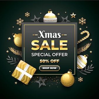 金色と灰色の装飾が施されたフラットなデザインのクリスマスセールプロモーション