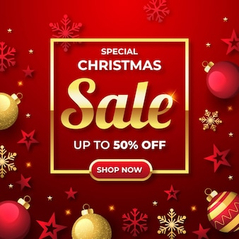 Flat design christmas sales promo with golden and red decorations