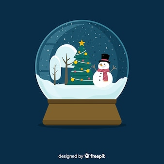 Flat design christmas snowball globe background