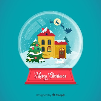 Flat design christmas snowball globe wallpaper