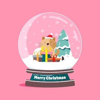 猫とフラットデザインのクリスマススノーボールグローブ