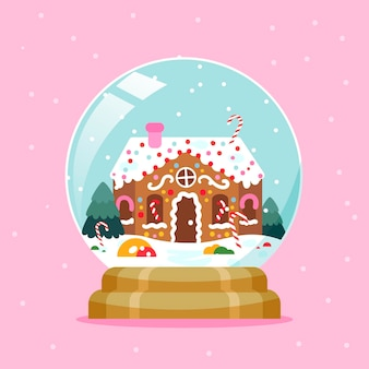 Flat design christmas snowball globe with gingerbread house