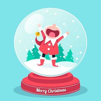 Рождественский снежный шар в плоском дизайне с ребенком