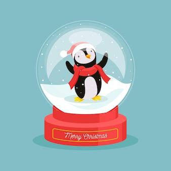 Плоский дизайн рождественский снежный шар с пингвином