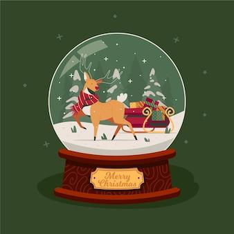 순 록과 썰매와 평면 디자인 크리스마스 눈덩이 글로브