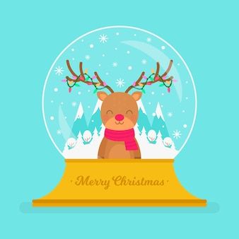 Flat design christmas snowball globe with reindeer